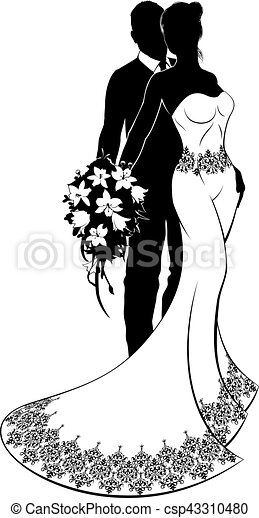 Bride and Groom Wedding Silhouette - csp43310480