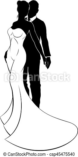 Bride and Groom Wedding Silhouette - csp45475540