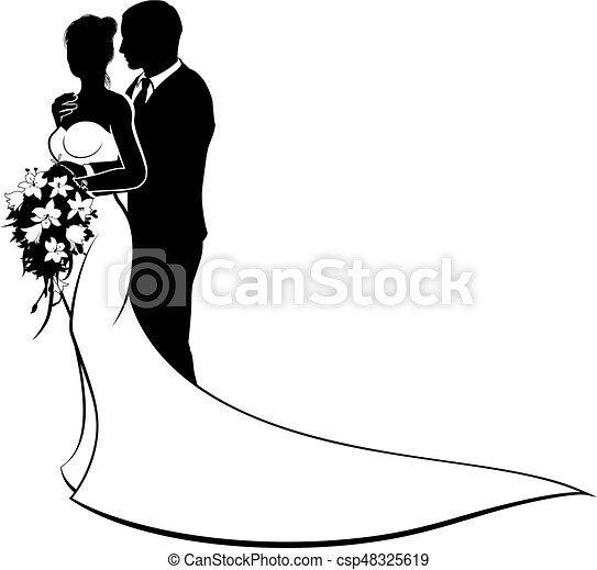 bride and groom wedding silhouette couple wedding design of rh canstockphoto com bride and groom vector graphic bride and groom vector illustration