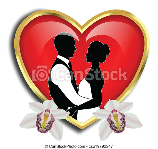 BRIDE AND GROOM WITH RED HEART - csp19792347