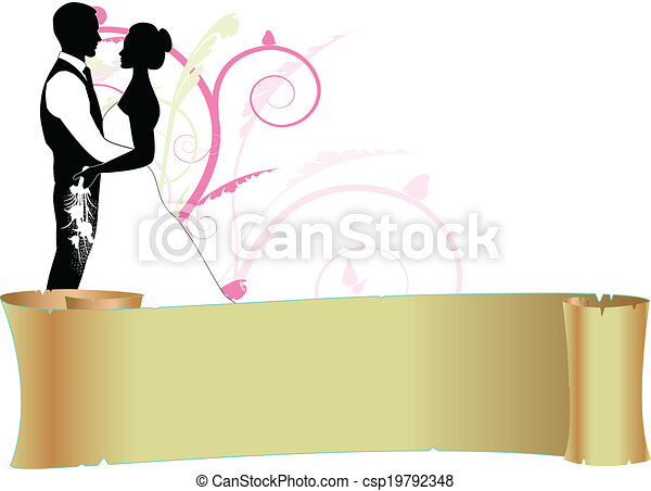 bride and groom with scroll - csp19792348