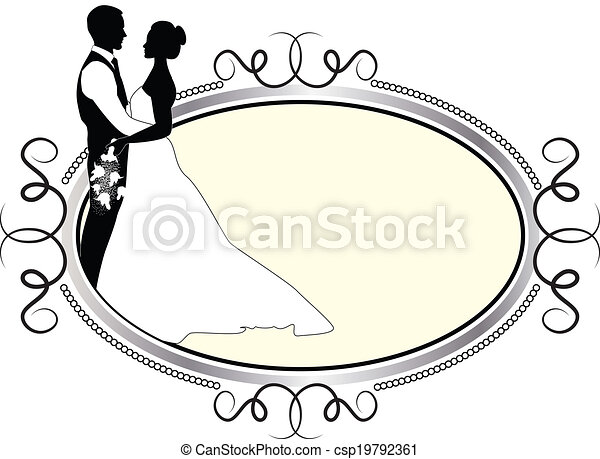 bride and groom with silver frame - csp19792361