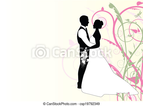 bride and groom with swirl - csp19792349