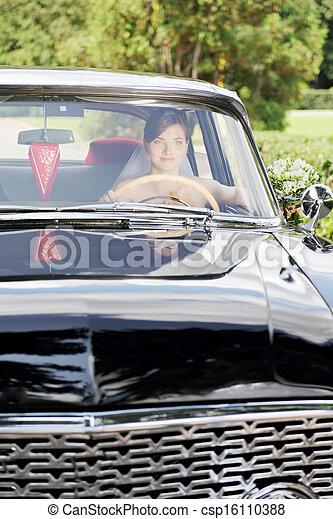 Bride at the wheel - csp16110388