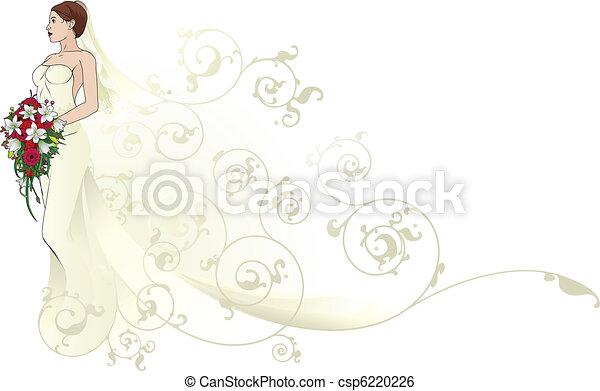 Bride beautiful wedding dress  pattern background - csp6220226