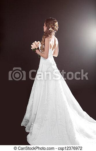 Bride beautiful woman in wedding dress - wedding style - csp12376972