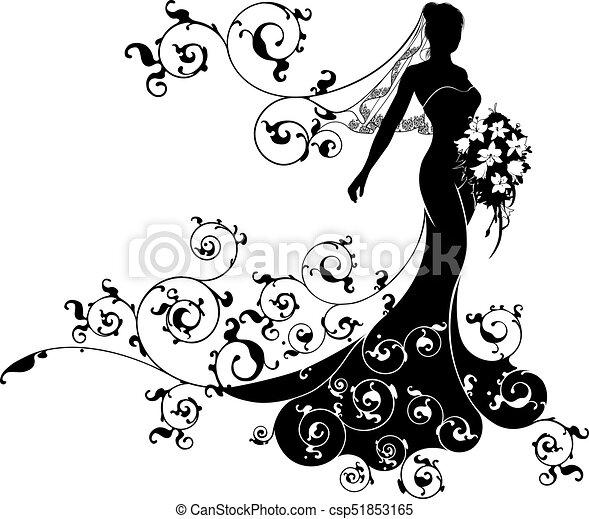 Bride bouquet wedding silhouette design a bride in clip art bride bouquet wedding silhouette design csp51853165 junglespirit Gallery