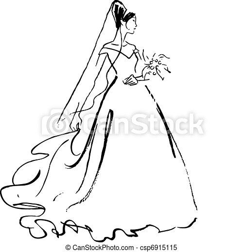 bride drawing - csp6915115