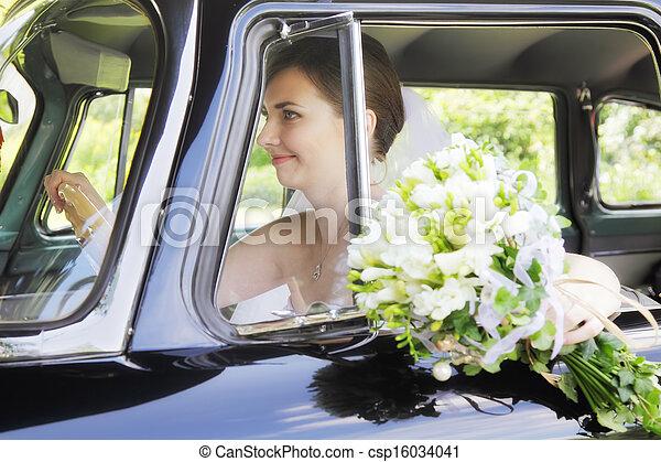 Bride driving car - csp16034041