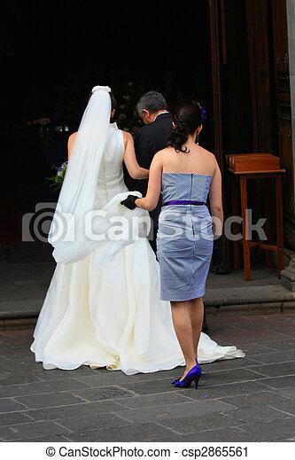 Bride entering the church - csp2865561