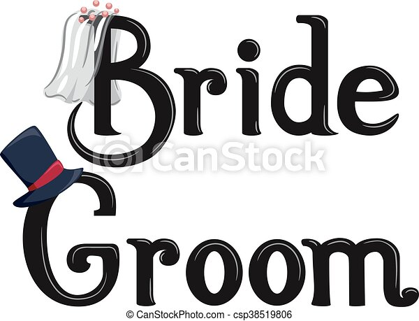 Bride Groom Lettering - csp38519806