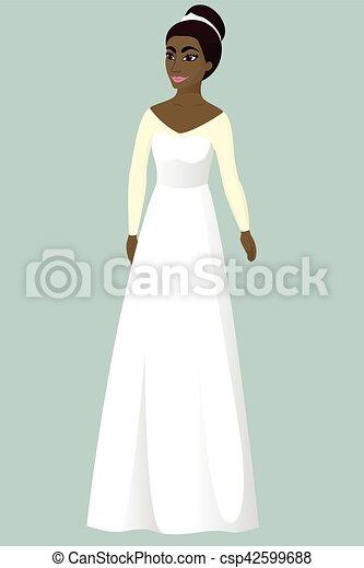 Bride in a-line wedding dress vector illustration.