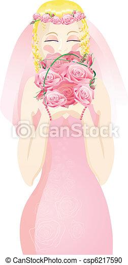bride in a pink wedding dress  - csp6217590