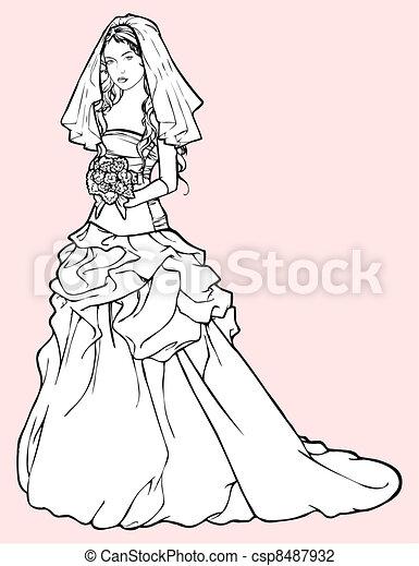 Bride in a wedding gown - csp8487932