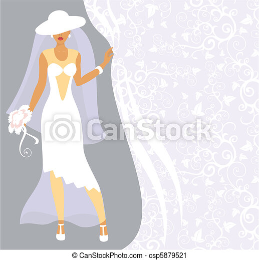 Bride in a white hat - csp5879521