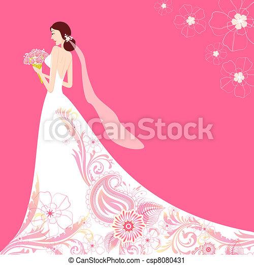 Bride in Floral Wedding Dress - csp8080431