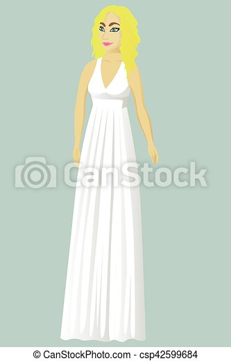 Bride in greek wedding dress vector illustration.