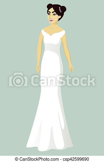 Bride in mermaid wedding dress vector illustration.