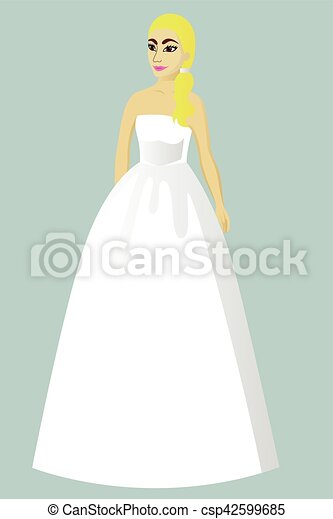 Bride in princess wedding dress vector illustration vector - Search ...