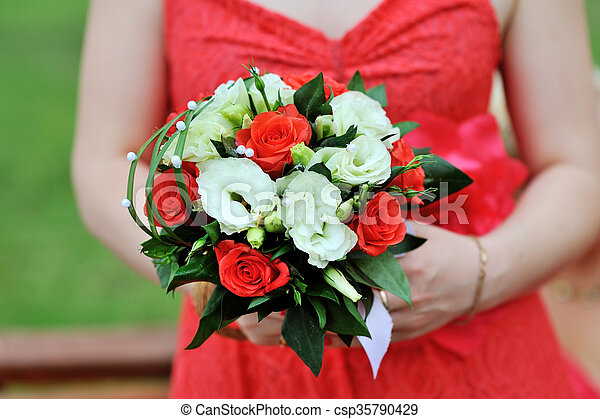 Bride In Red Dress Holding Wedding Bouquet,Jcpenney Wedding Dresses Bridal Gowns
