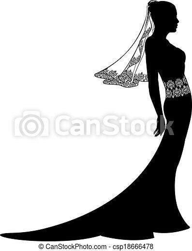 Bride in wedding dress silhouette - csp18666478