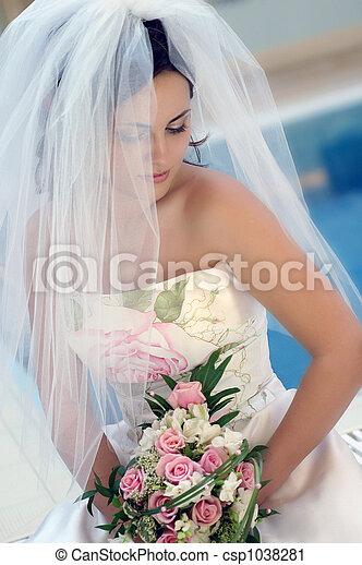 Bride in white wedding dress - csp1038281