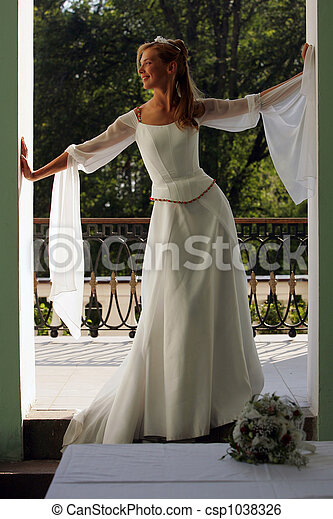 Bride in white wedding dress - csp1038326
