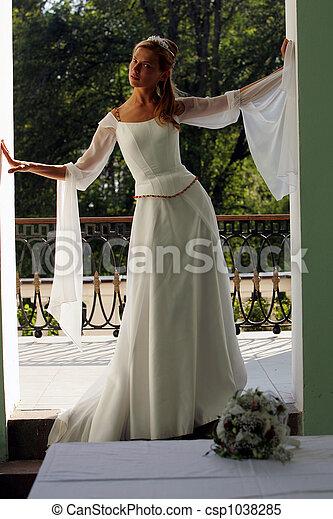 Bride in white wedding dress - csp1038285