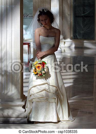 Bride in white wedding dress - csp1038335