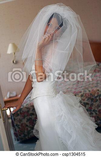 Bride in white wedding dress - csp1304515