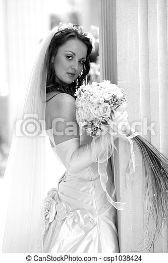 Bride in white wedding dress - csp1038424