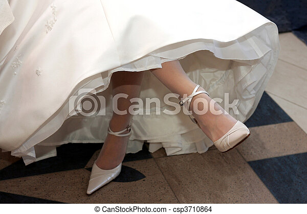 Bride in white wedding dress - csp3710864