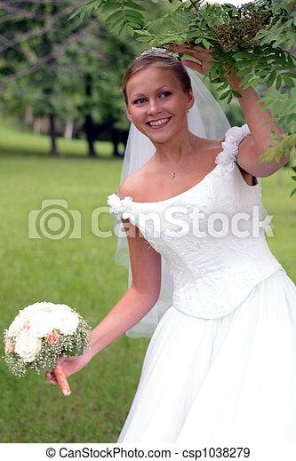 Bride in white wedding dress - csp1038279