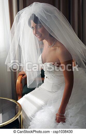 Bride in white wedding dress - csp1038430