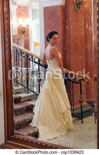 Bride in white wedding dress - csp1038423