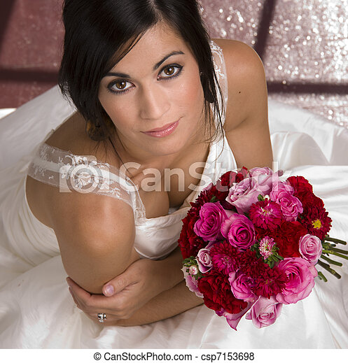 Bride Seated with Bouquet - csp7153698