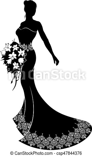 Bride Wedding Bouquet Silhouette - csp47844376