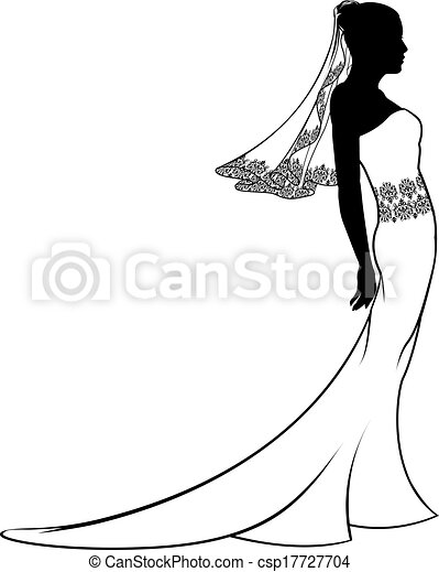 Bride wedding dress silhouette - csp17727704