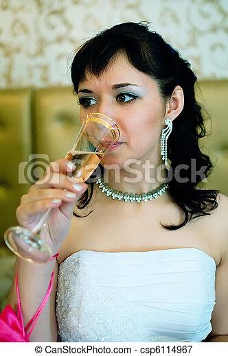bride with drink - csp6114967