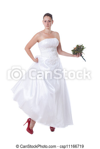 Bride with red shoes - csp11166719