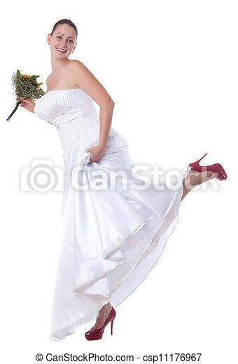 Bride with red shoes - csp11176967