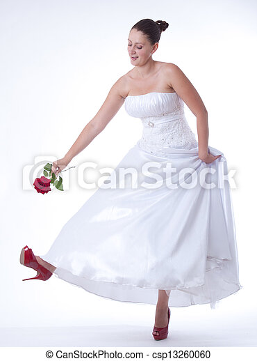 Bride with red shoes - csp13260060