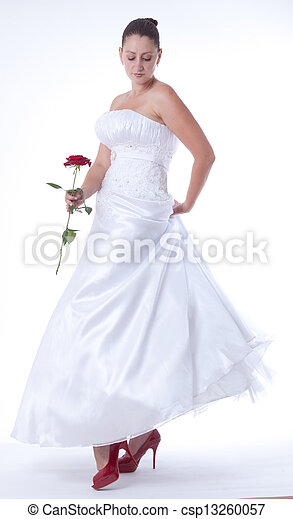 Bride with red shoes - csp13260057