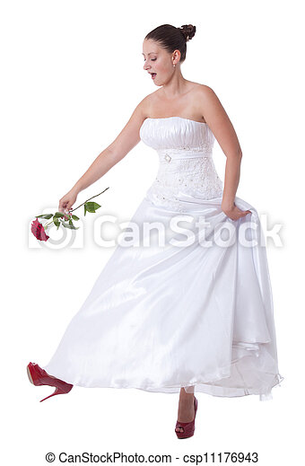 Bride with red shoes - csp11176943