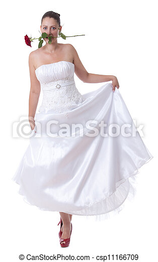 Bride with red shoes - csp11166709