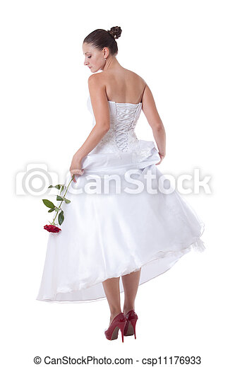 Bride with red shoes - csp11176933