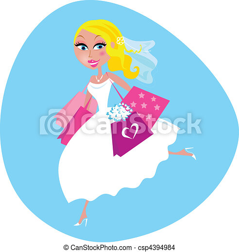 Bride with shopping bags - csp4394984