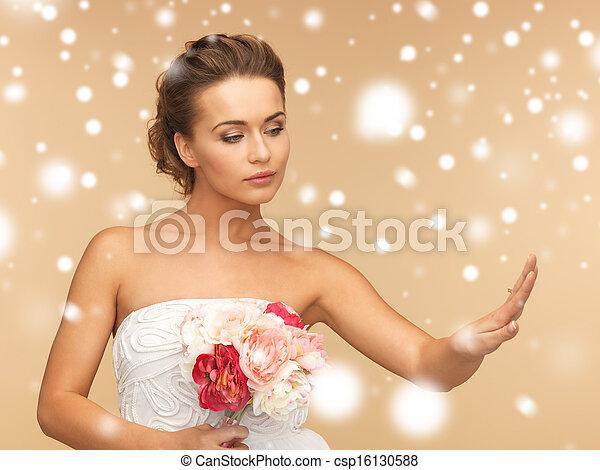 bride with wedding ring - csp16130588