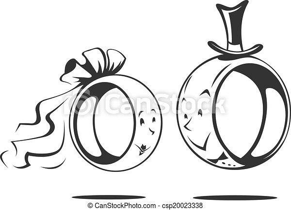 Bridegroom and bride wedding ring vector illustration vectors