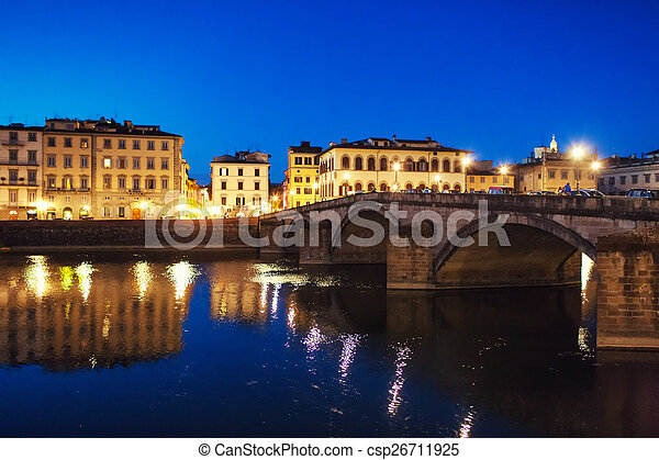Bridge and house in the evening on the waterfront of Florence - csp26711925